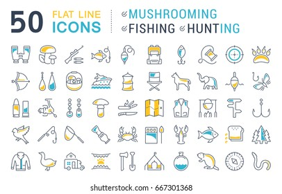 Set of line icons, sign and symbols in flat design mushrooming, fishing and hunting with elements for mobile concepts and web apps. Collection modern infographic logo and pictogram.