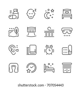Set line icons of sleep isolated on white