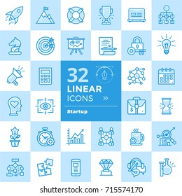 Set of linear icons for startup business