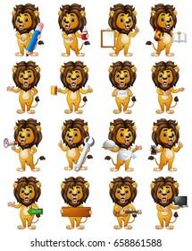 Set of lion cartoon character