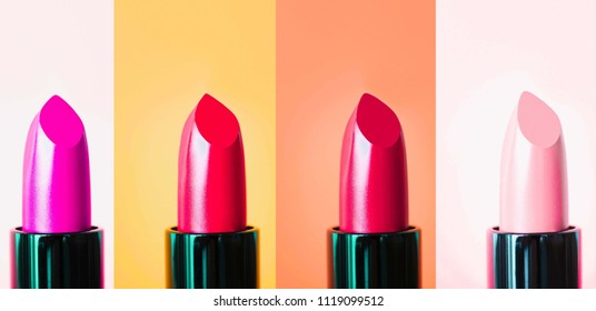 Set of lipstick isolated on color background. Red, pink, wine, vinous . Colorful Tones,Lipstick tints palette, Professional Makeup and Beauty. Beautiful Make-up concept. Lipgloss.