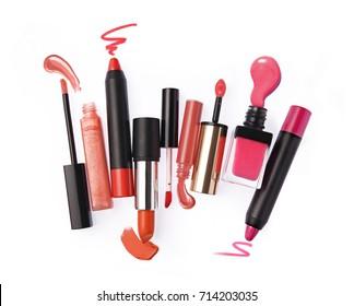 Set of lipstick isolated on white