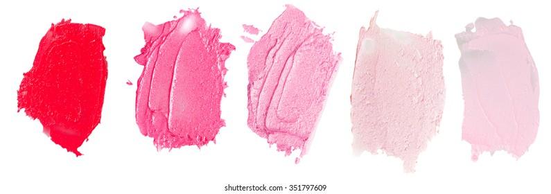 Set of lipsticks smears  lipstick isolated on white background