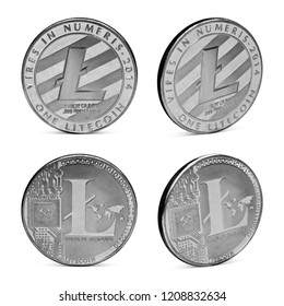 Set of litecoin isolated on white background