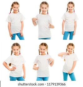 Set of little girl in a white T shirt isolated on white background for your design