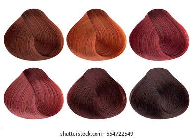 Set of locks of six different red hair color samples (copper, copper shine, ruby red, garnet, mahogany coral and dark mahogany), rounded shape, isolated on white background, clipping path included