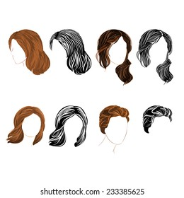 Set long and short hair  natural and silhouette  there is also a format eps