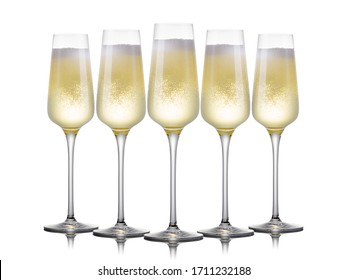 Set of luxury champagne glasses in a row on a white background. Concept of winemaking and restaurant business