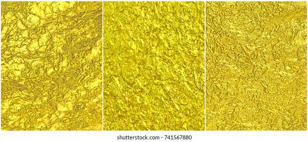 Set luxury leaf gold foil metal texture.