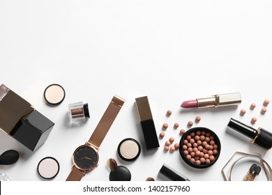 Set of luxury makeup products on white background, flat lay