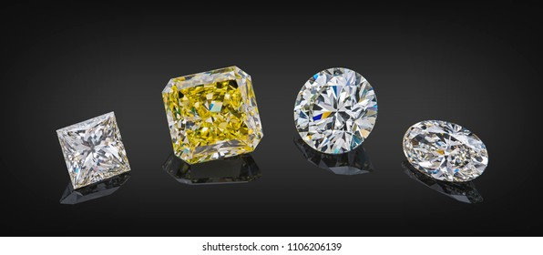 Set of luxury transparent sparkling yellow and colorless gemstones of various cut shape diamonds collage isolated on black background.