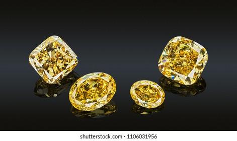 Set of luxury yellow transparent sparkling gemstones of various cut shape diamonds collage isolated on black background.