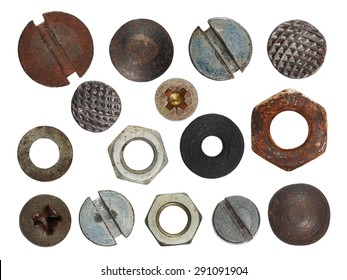 set macro screw heads, bolts, steel nuts, old metal nail, isolated on white background