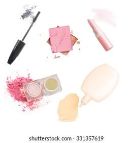 Set of make up cosmetics isolated on white background
