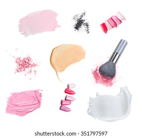 set of make up cosmetics and smears isolated on white background