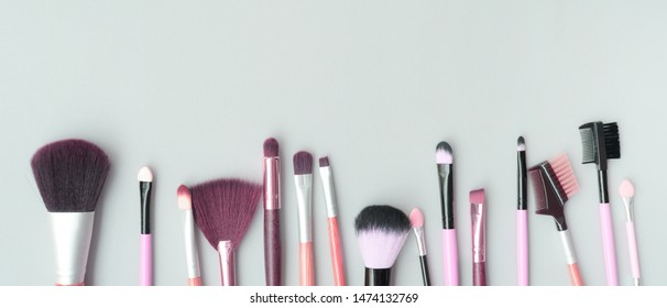 Set of makeup brushes for background