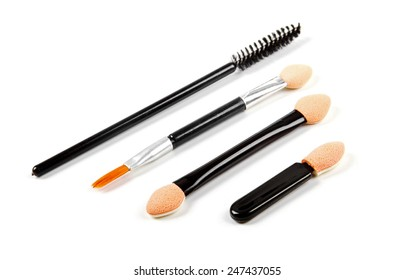 set of makeup brushes isolated on white
