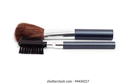 a set of make-up brushes, shot on white background.