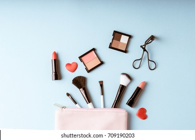 Set of Makeup cosmetics products with bag on top view, vintage style