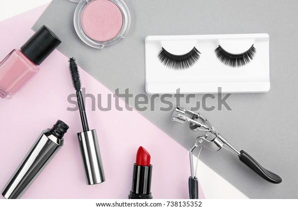 425bd4cc04f Set Makeup False Eyelashes On Color Stock Photo (Edit Now) 738135352