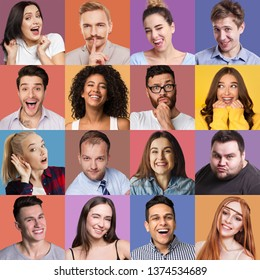 Set of male and female emotional portraits. Young diverse people grimacing and gesturing at colorful studio backgrounds