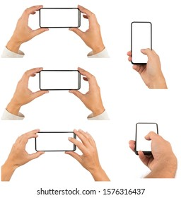 Set of male and female hands with modern smartphone isolated on white, high resolution.