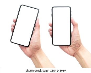 Set of male hand holding the black smartphone with blank screen isolated on white background with clipping path.