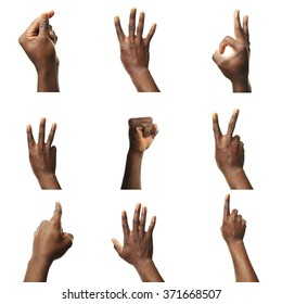 Set of male hands gestures, isolated on white