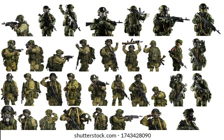 Set of male in russian mechanized infantry uniform with weapon. Shot in studio. Isolated with clipping path on white background.