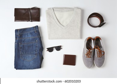Set of male stylish clothes on white background