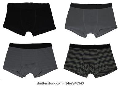 Set of male underwear. Dark set of male underwear. Pants boxers isolated on white background. Men's underwear.