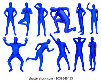 Set of man in blue costume in various poses