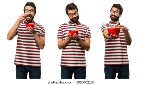 Set of Man with glasses holding a bowl of cereals