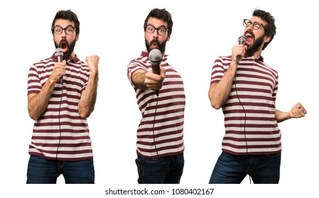 Set of Man with glasses singing with microphone