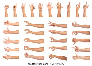 Set of Man hand gesturing isolated on white background.