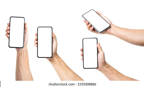 Set of Man hand holding blank screen  smartphone isolated on white background, clipping path