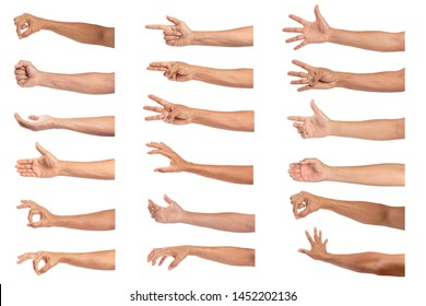 Set of man hand isolated on white background