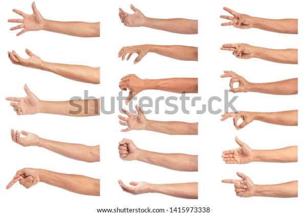 Set of man hand isolated on white background.