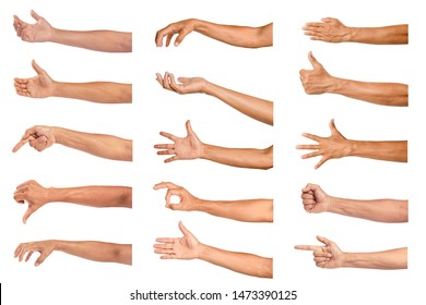 Set of man hands isolated on white background.