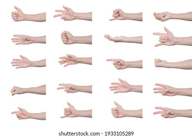 Set of man hands Isolated on white background with clipping path.