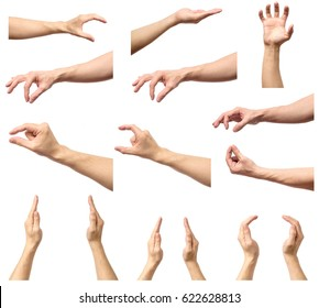 Set of man hands measuring invisible items. Isolated on white