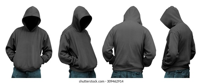 Set of man in hoodie isolated over white background