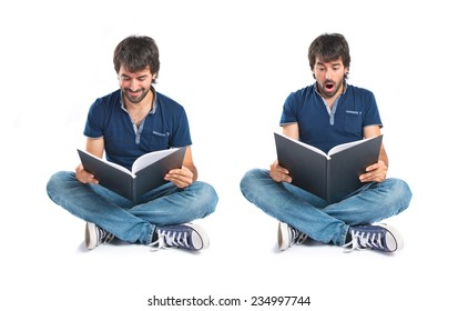 Set of Man reading a book over white background