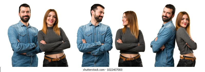 Set of Man and woman with their arms crossed