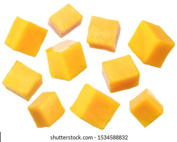 Set of mango cubes isolated on a white background. File contains clipping path.
