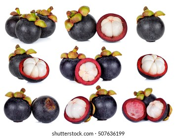 Set of Mangosteen isolated on white background.