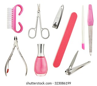 A Set Of Manicure Or Pedicure Tools Isolated On Pure White Background