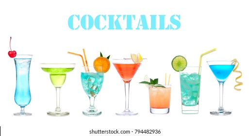 Set of many alcohol cocktails Blue Hawaiian, Martini, Cosmopolitan, Mojito tropical cocktail drinks with alcohol vodka isolated on a white background