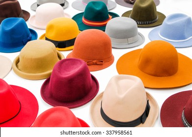 Set of many woman hat isolated