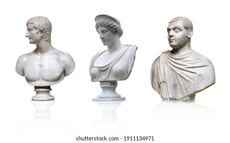 Set of marble antique busts isolated on white background